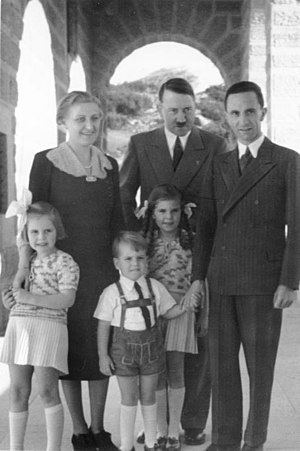 Goebbels children - Magda and Joseph Goebbels with their children, Hilde (left), Helmut (center), and Helga (right), visit Hitler on the Obersalzberg, Kehlstein House, 1938.