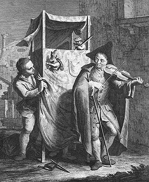 Puppet theatre (~ Punch and Judy), c.