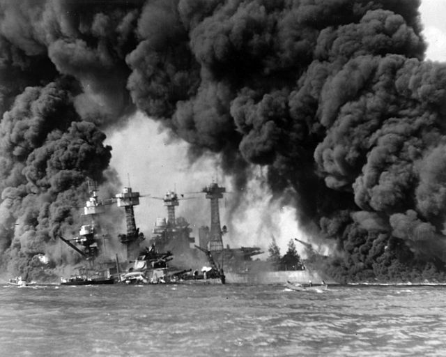 Burning ships at Pearl Harbor