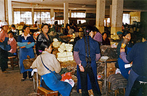Yak butter - Yak butter market in the Tromzikhang, Lhasa (1993).