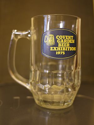 Great British Beer Festival - Image: CAMRA Covent Garden Beer Exhibition 1975 half pint glass