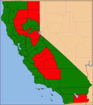 """Cannabis in California - Proposition 64 (2016) results by county. Counties with a majority of """"yes"""" votes in green and counties with a majority of """"no"""" votes in red."""
