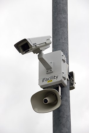 iFacility CCTV camera with IP Audio Horn watching from a high steel pole