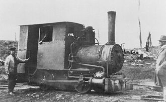 Marrawah Tramway - Spider locomotive before boiler refit in 1923