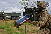 A member of the Royal Artillery with a Starstreak High Velocity Missile system.