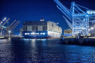 Port of Los Angeles - CMA CGM Benjamin Franklin, the largest ship to dock at Port of Los Angeles