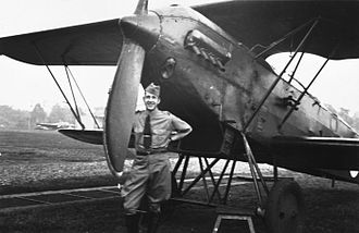 Royal Netherlands East Indies Army Air Force - A pilot with his Fokker C.V, 1937.