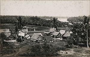 Pahang Malay people - Traditional Pahang Malay style houses seen in Kampung Baharu, Pahang, circa 1930-1940.