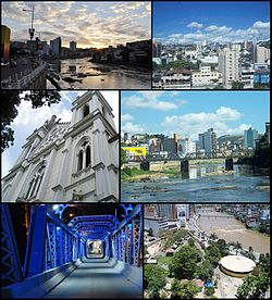 Montages of the city Cachoeiro de Itapemirim. Top left: Sunset in River Itapemirim, Top right: View of Center of Cachoeiro de Itapemirim, Middle left: St. Peter's Cathedral, Middle right: River Itapemirim, Bottom left: Night view of Iron Bridge Demisthóclides Baptista, Bottom right: Fátima Square.
