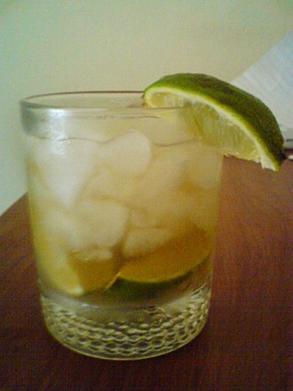 Caipiroska - A caipiroska garnished with a lime wedge.