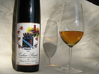 Dessert wine - Glass of Caluso passito, a raisin wine from Piedmont