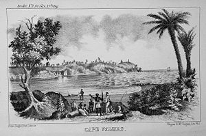 Cape Palmas - An etching of Cape Palmas in 1853.