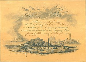 Sea Fencibles - Certificate of membership of Boston Sea Fencibles dated 1819.  Preserved in the United States Marine Corps Archive.