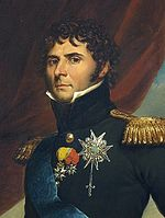 Painting of curly-haired man in high-collared military uniform