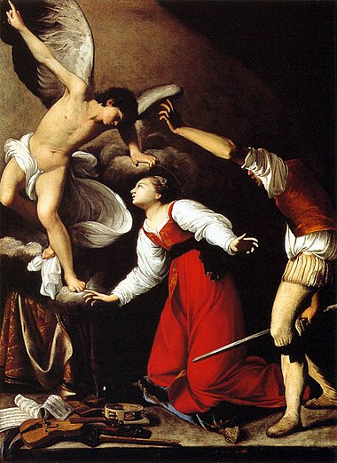 The Martyrdom of St Cecilia by Carlo Saraceni (c. 1610) Carlo Saraceni - The Martyrdom of St Cecilia - WGA20831.jpg