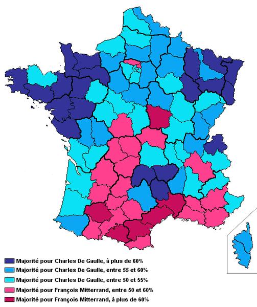 Carte élections presidentielles 1965