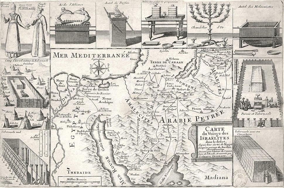 Carte du voïage des Israëlites dans le désert depuis leur sortie de l'Egipte jusqu'au passage du Jourdain