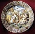 Castelli, bottega di francesco grue, piatto con alessandro che copre dario sotto il suo mantello, 1650-1700 ca..JPG
