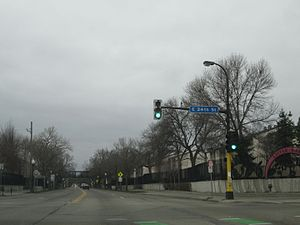 Cedar Avenue - Cedar Avenue at East 24th Street in Minneapolis, looking southbound.