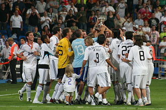 Bernd Schuster - Real Madrid players celebrating their win in the Spanish Supercopa in the 2008.