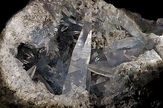 Celestine (mineral) - Celestine geode section