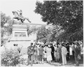 Ceremony in front of an equestrian statue of Jose de San Martin, Washington, EC. - NARA - 199870.tif