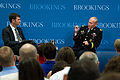 Chairman of the Joint Chiefs of Staff U.S. Army Gen. Martin E. Dempsey, right, hosts a question and answer session with Peter W. Singer, the director of the Center for 21st Century Security and Intelligence 130627-D-KC128-061.jpg