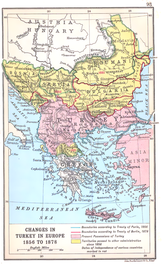 First Balkan Alliance - Map of changes of the Ottoman Balkan territory in 1856–78.