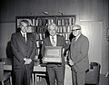 "Charles ""Charlie"" Hall, Hans Mark and Sy Syvertson holding Pioneer 10 Plaque (4993456479).jpg"