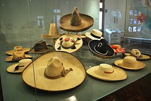 Sombrero - Hats (sombreros) on display at the Museo de Arte Popular in Mexico City.