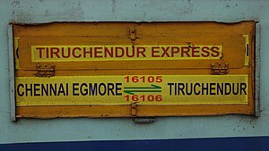Chendur Express - The Name board of Tiruchendur Express
