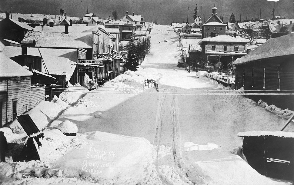 Cherry St after the big snowfall of 1880, looking northeast, Seattle, January 10, 1880 (PEISER 144).jpeg