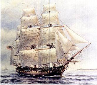 Sail components - USS ''Chesapeake'', a 1799 United States frigate had triangular jibs and quadrilateral square sails and gaff-rigged sail.
