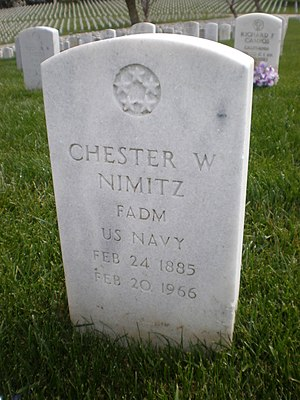 Chester W. Nimitz - Nimitz's headstone at Golden Gate National Cemetery.