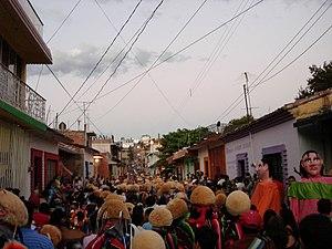 Parachico - Parachicos dancing on the streets of Chiapa de Corzo