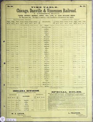 Chicago, Danville and Vincennes Railroad - Image: Chicago, Danville and Vincennes Railroad timetable 1876