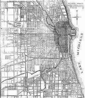 Map of Chicago from 1871. The shaded area was destroyed by the fire.
