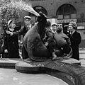 Children playing on a sea lion of Havis Amanda during Vappu 1983.jpg