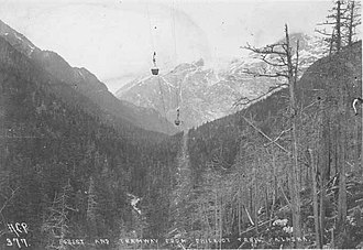 Chilkoot Trail tramways - Chilkoot Trail tramway in forest, 1898