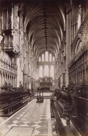 Lierne (vault) - Ely Choir looking east. ca. 1890.