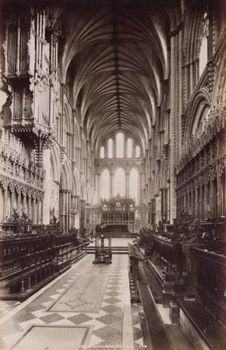 King's Ely - The Choir of Ely Cathedral, where the choristers perform evensong daily, c.1890