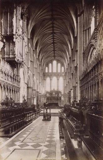 Lierne (vault) - Ely Choir looking east. ca. 1890.