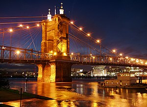 English: The Roebling Suspension Bridge, spann...