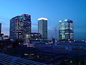 English: Citigroup, HSBC and Barclays towers a...