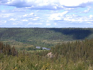 Fort McMurray - View of the Clearwater River valley from Highway 63