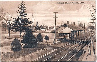Clinton station (Connecticut) - An early postcard of the 1897 station