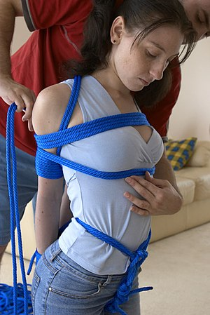 Crotch rope - Combination breast, elbow, and wrist bondage with crotch rope