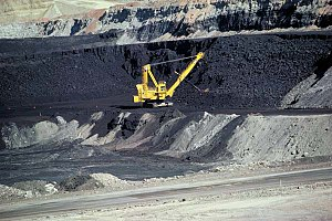 A coal mine in Wyoming. Coal, produced over mi...
