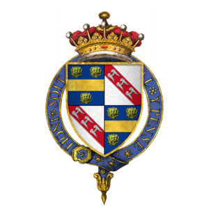 William de la Pole, 1st Duke of Suffolk - Quartered arms of William de la Pole, Earl of Suffolk, at the time of his installation as a knight of the Order of the Garter