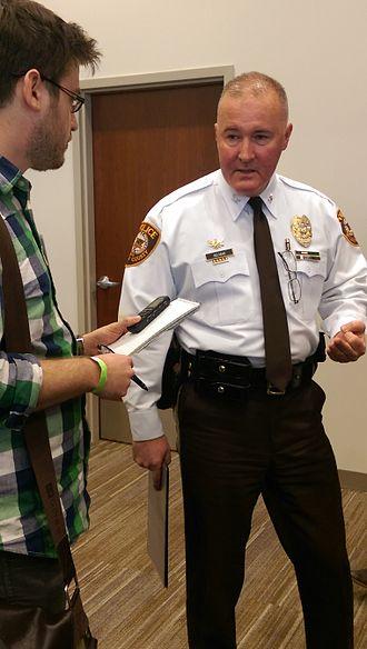 St. Louis County Police Department - Colonel Belmar speaks to reporters - Feb 2015
